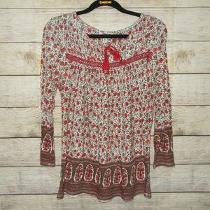 Lucky Brand Floral Print Long Sleeve Top Medium